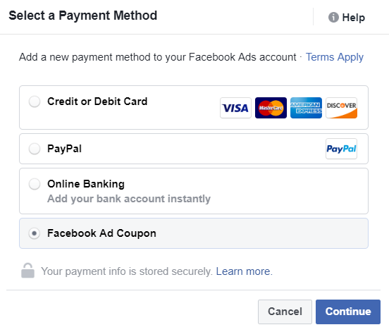 Add Facebook Ad Coupon