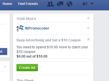 Facebook ad coupon code 2018