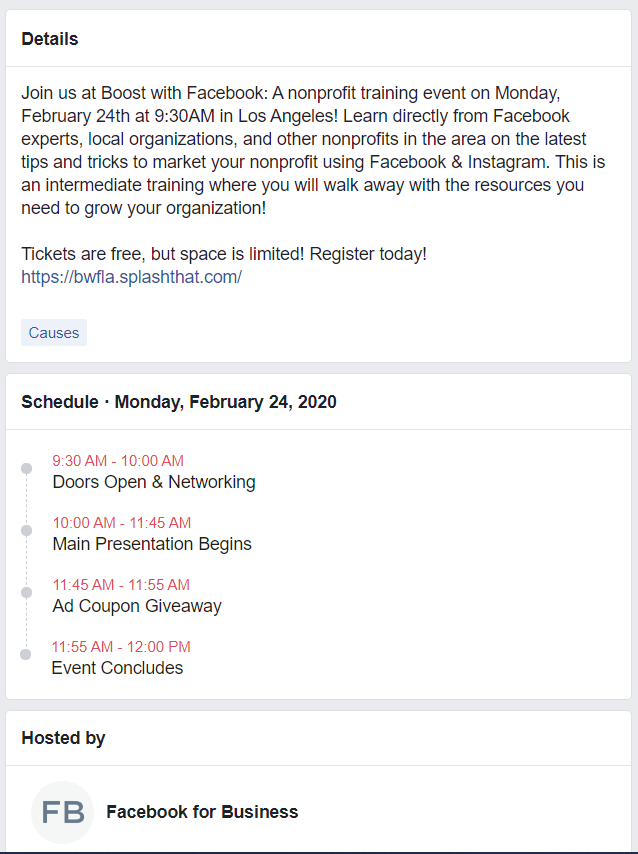 Boost with Facebook events include FB coupon giveaways