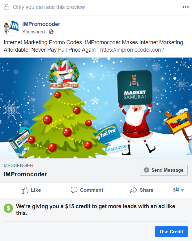 Facebook Ad Credit Messenger Ads
