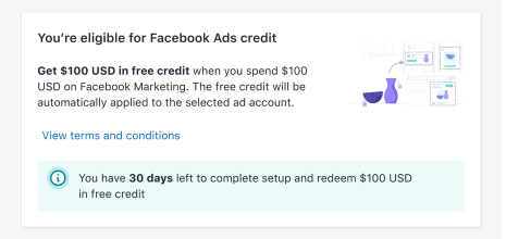 Facebook ad credit for shopify users