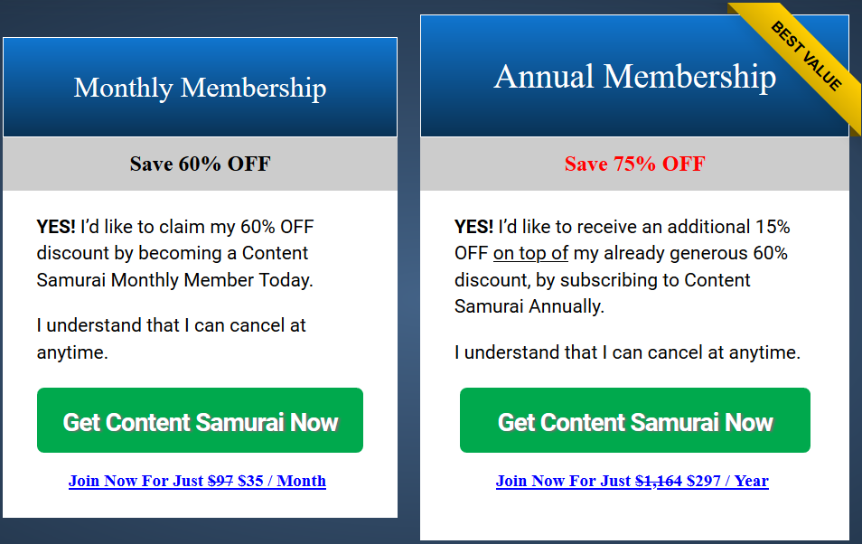 Content Samurai Special Discount Offer (Question Samurai Upgrade)